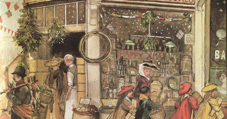 Typical London Edwardian Christmas Scene