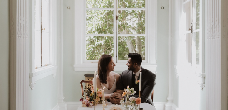 A couple on their wedding day, having a micro wedding at a London wedding venue