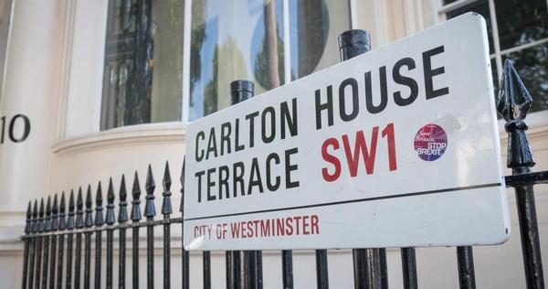 External shot of street sign of 10-11 Carlton House Terrace