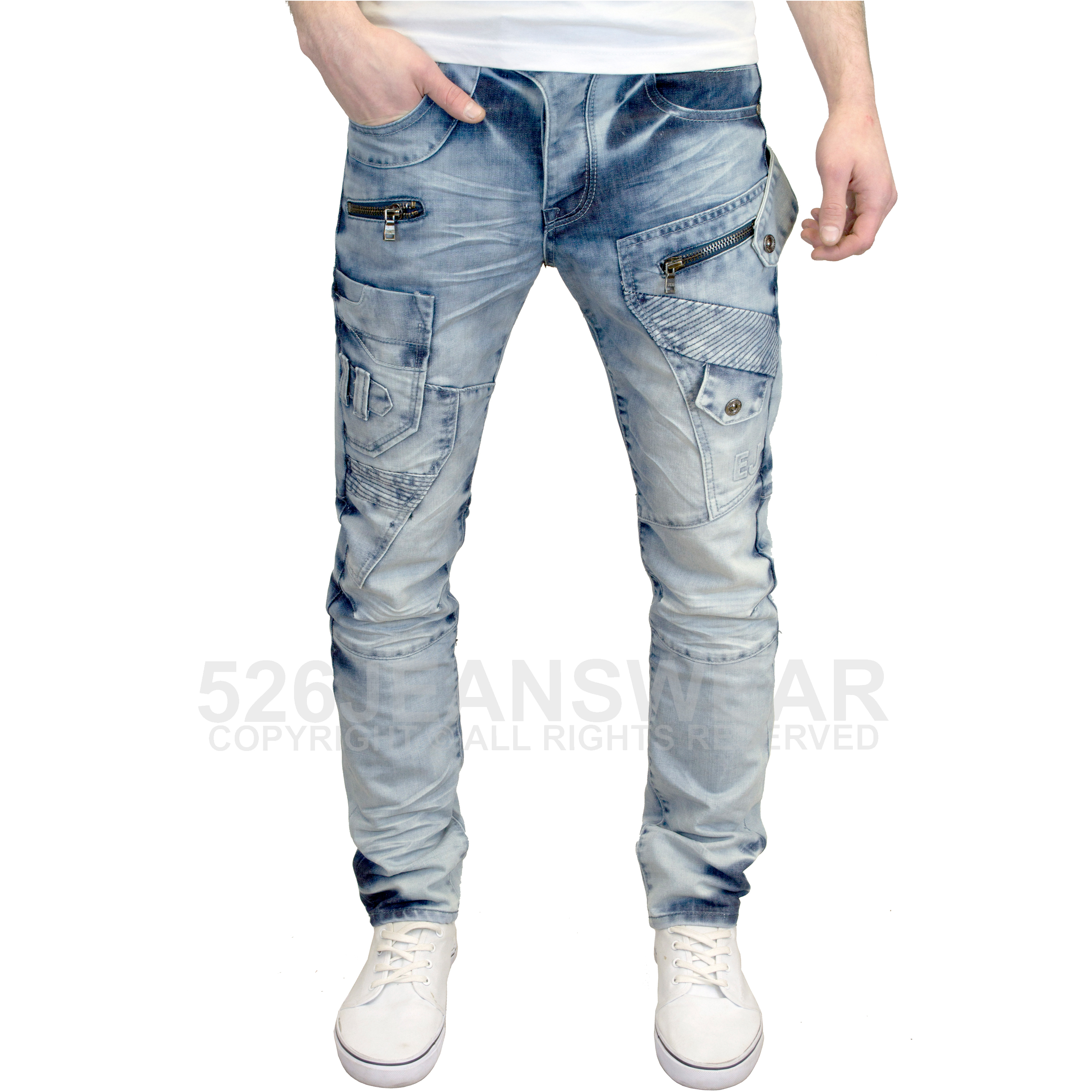 Eto Men/'s Designer Branded Distressed Rip Abraised Tapered Fit Jeans BNWT