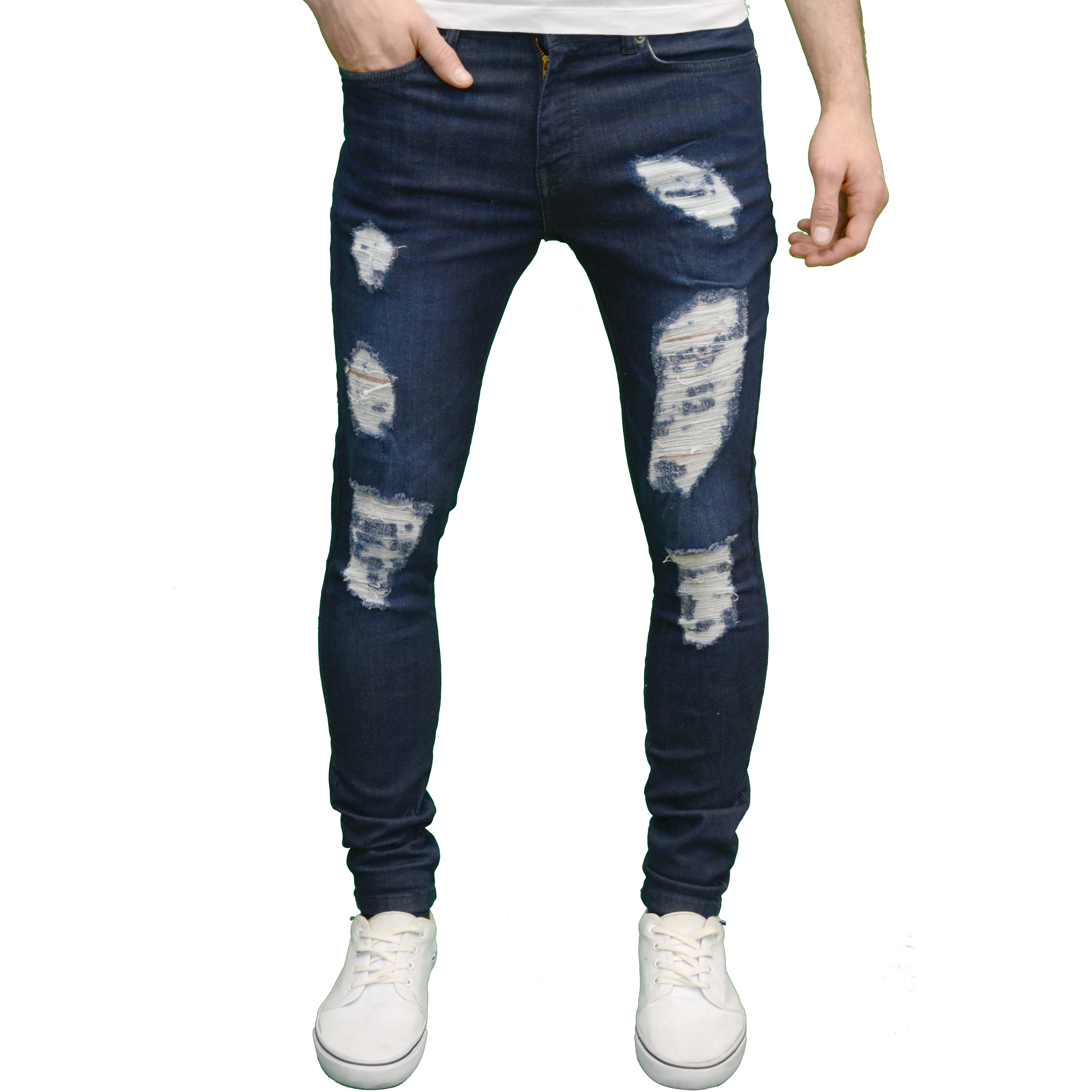 enzo herren designer marke stretch super skinny fit distressed zerrissene jeans ebay. Black Bedroom Furniture Sets. Home Design Ideas
