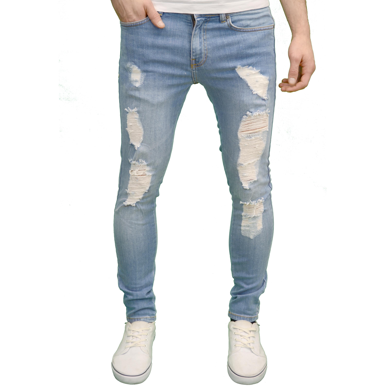 enzo herren designer marke stretch super skinny fit distressed zerrissene jeans ebay. Black Bedroom Furniture Sets. Home Design Ideas