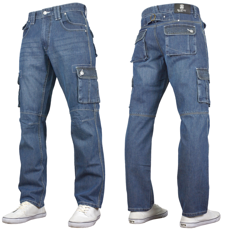 Crosshatch BNWT Designer Heavy Duty Multi Pocket Dark Cargo Combat Denim Jeans Pants All Waist /& Leg Sizes