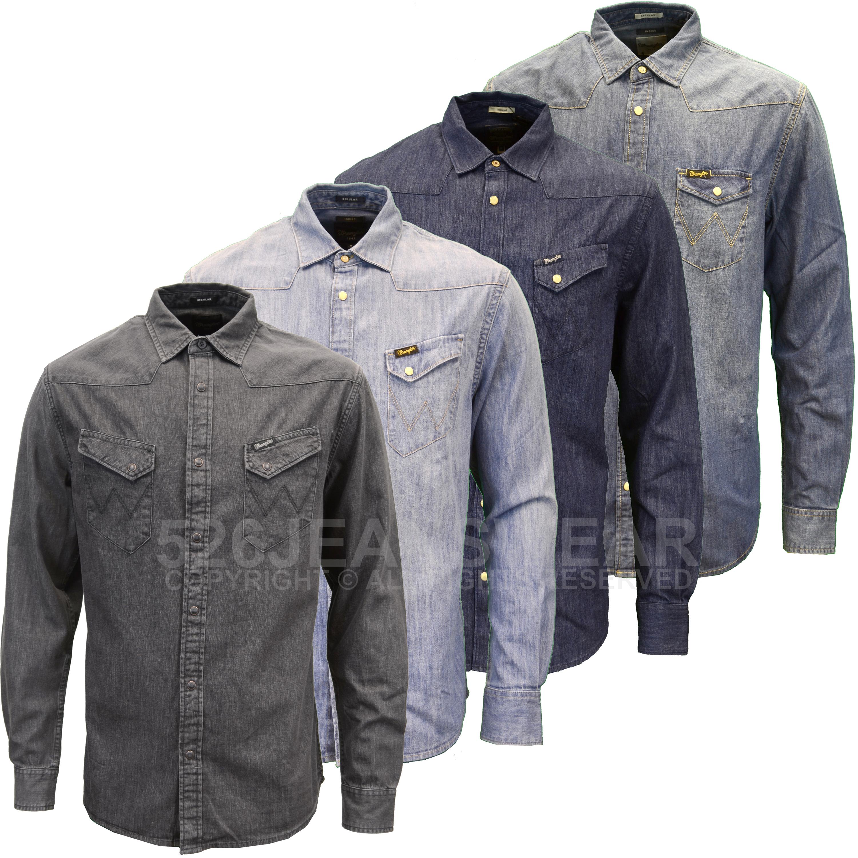 Wrangler mens designer branded classic fit western denim for Wrangler denim shirts uk