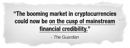 The booming market in cryptocurrencies could now be on the cusp of mainstream financial credibility. - The Guardian