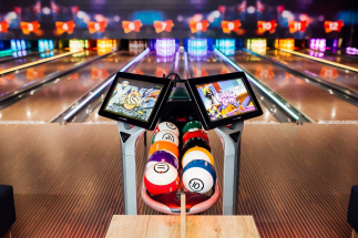 close up of airtastic bowling lane