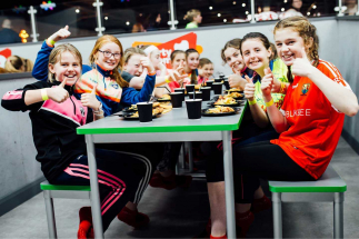 A Party Group enjoying food in Airtastic Party Room
