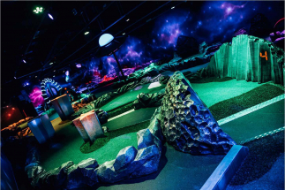 Overhead view of Airtastic Space themed Mini Golf Course