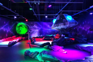 Large Spaceship at Airtastic Mini golf Craigavon