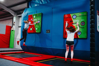 2 Girls enjoying Airtastic Interactive Bounce Challenge