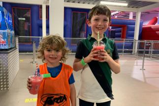 Two Boys Enjoy Slushies at Airtastic