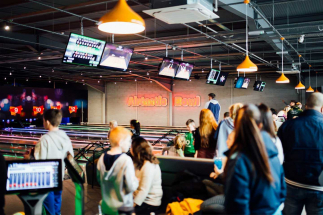 Large Group of People playing Airtastic Bowling