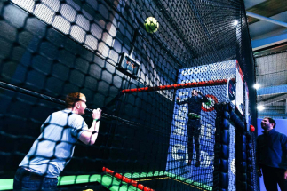 Two men playing bounce volley ball at Airtastic Entertainment Centre