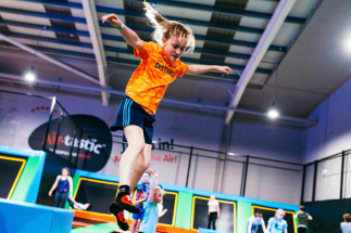 Girl doing a somersault on an Airtastic Trampoline