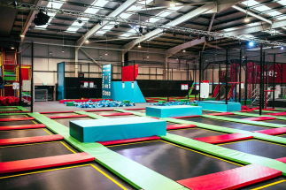 aerial view of trampoline park