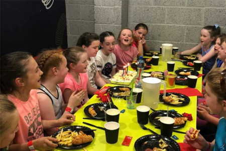 Kids enjoying Party Food at Airtastic