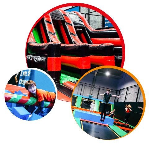Hero Image right Inflata, Ninja, and Trampoline