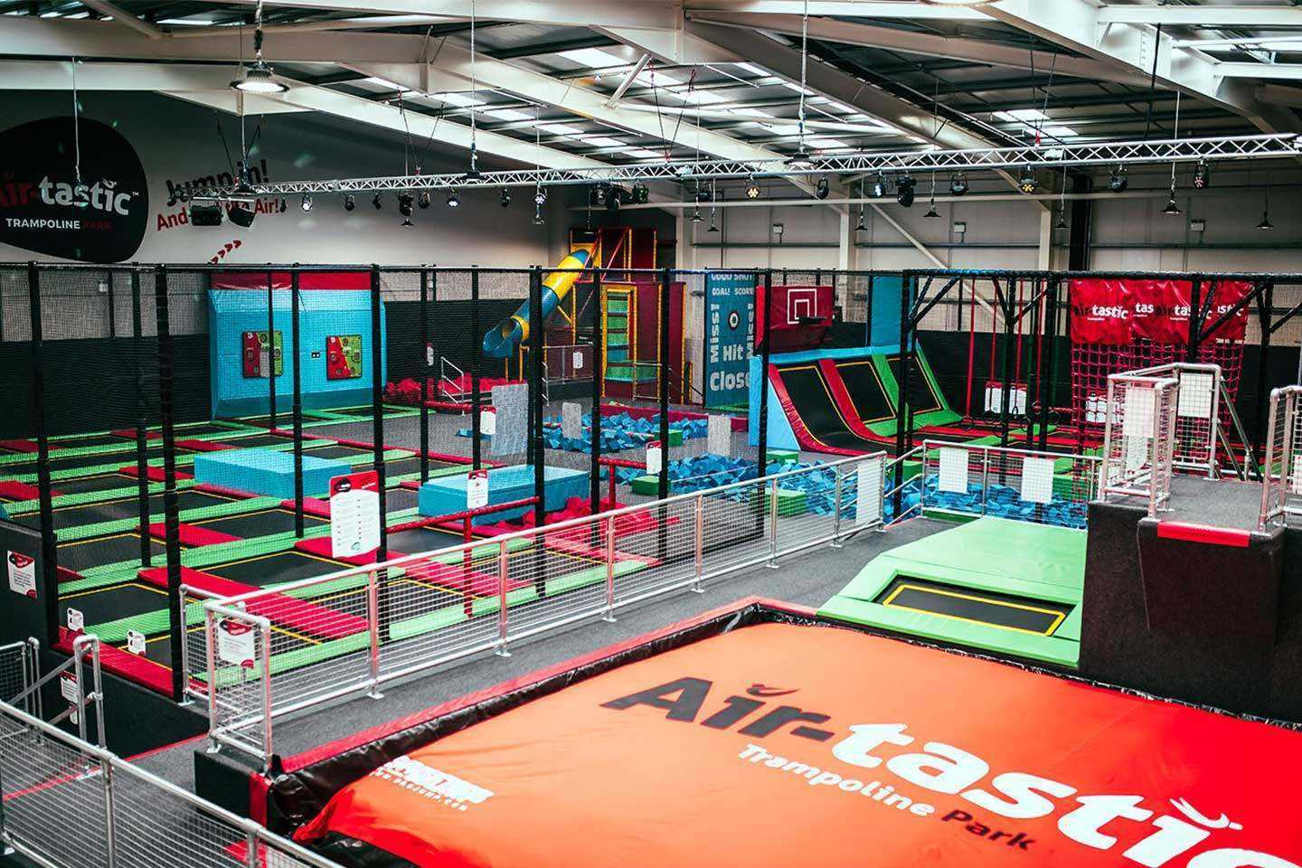 Aerial view of our trampoline park