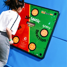 Girl playing an interactive challenge