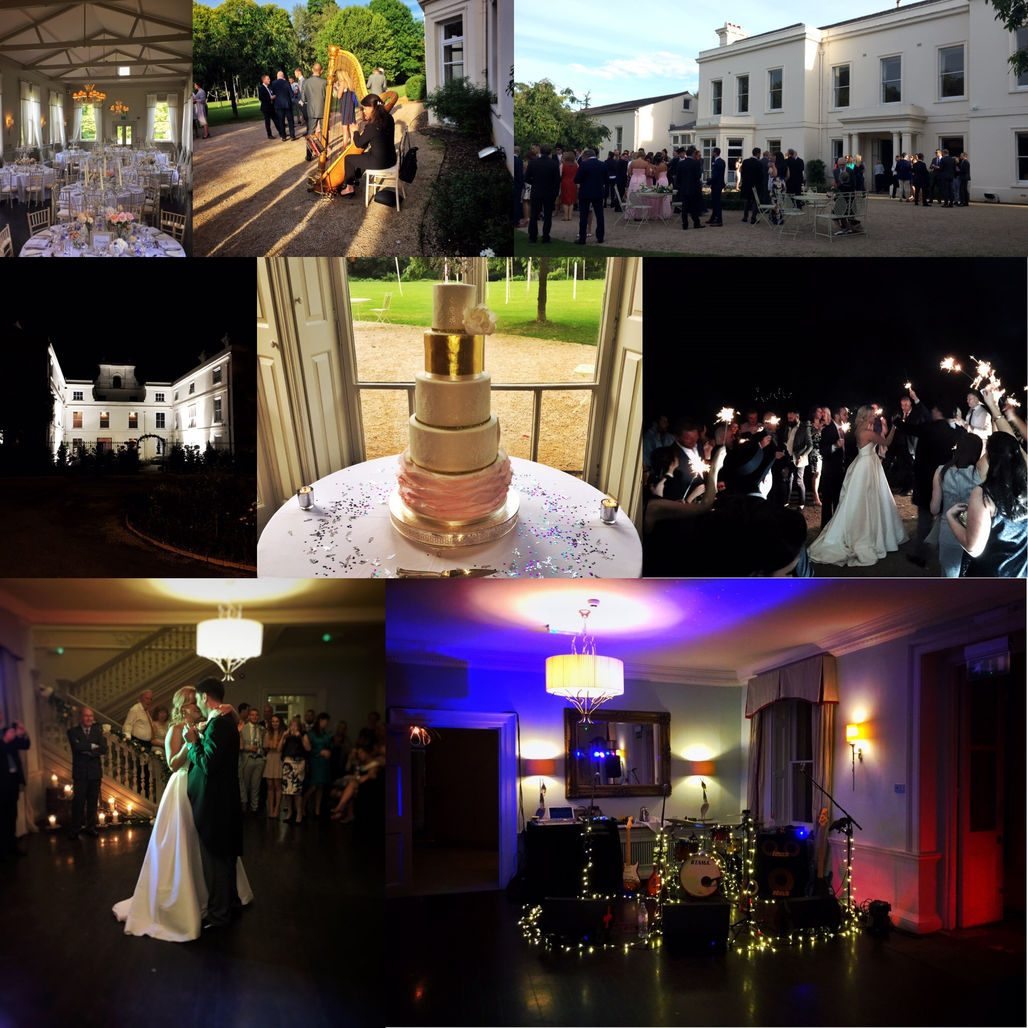 Collage of pictures from a wedding at Morden Hall
