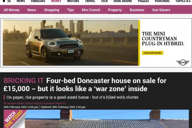 Four-bed Doncaster house on sale for £15,000 features in The Sun