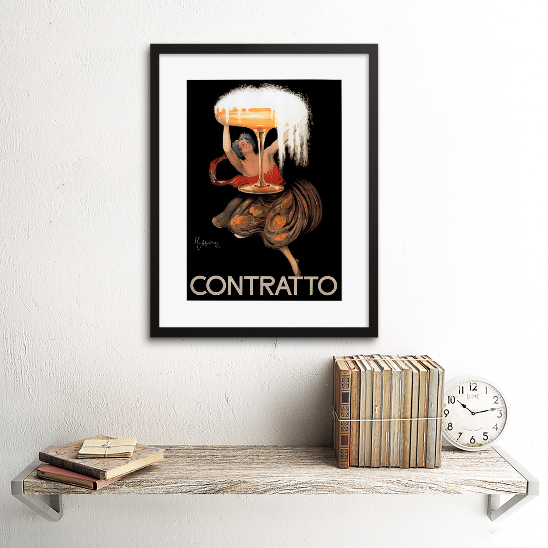 ADVERT CHAMPAGNE CONTRATTO ITALY DRINK ALCOHOL BLACK FRAMED ART PRINT B12X4144