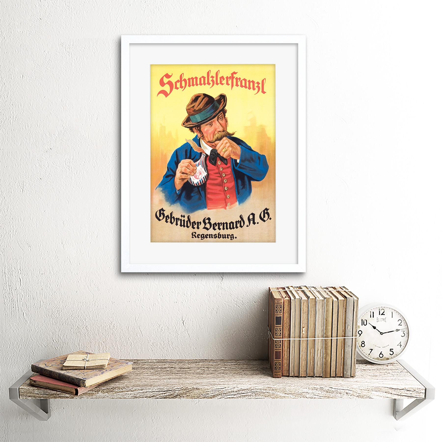 miniature 17 - Advertisement German Moustache Schmalzlerfranzl Snuff Framed Wall Art Print