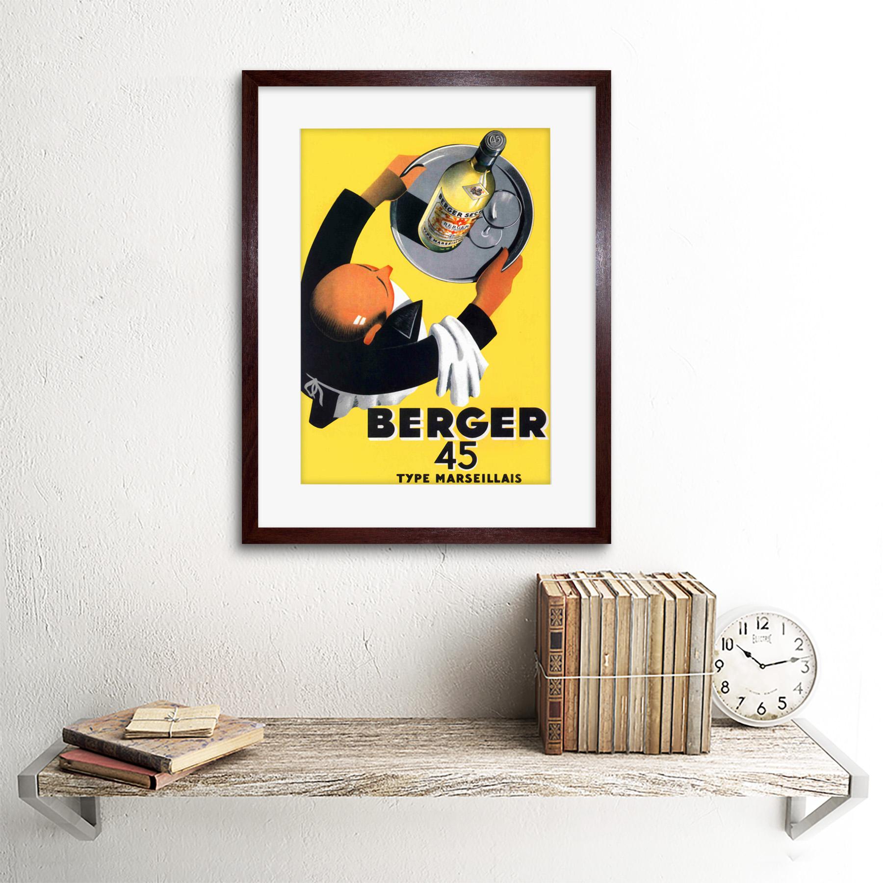 miniature 7 - Advertisement Wine Berger 45 Food Kitchen Waiter Framed Wall Art Print