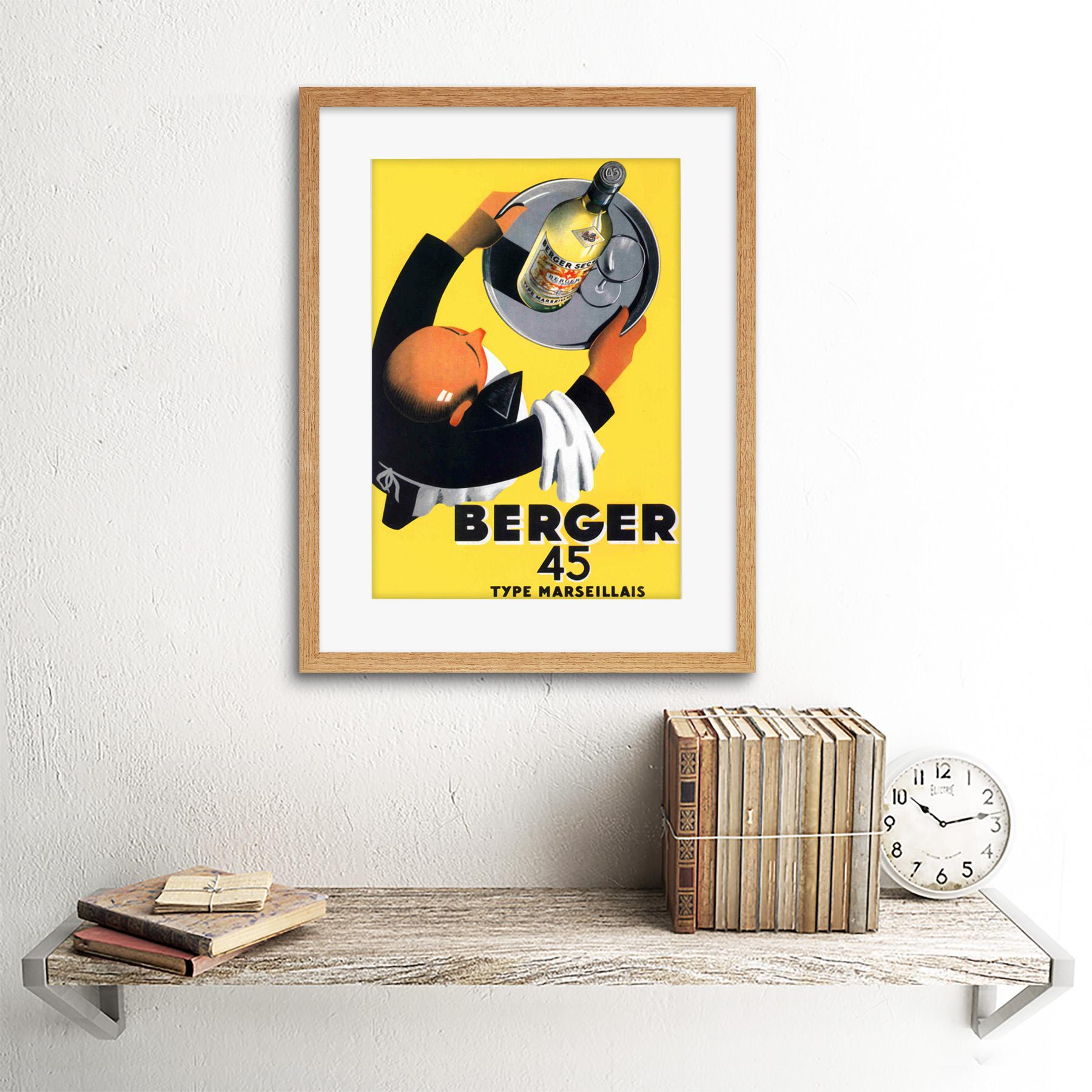 miniature 11 - Advertisement Wine Berger 45 Food Kitchen Waiter Framed Wall Art Print