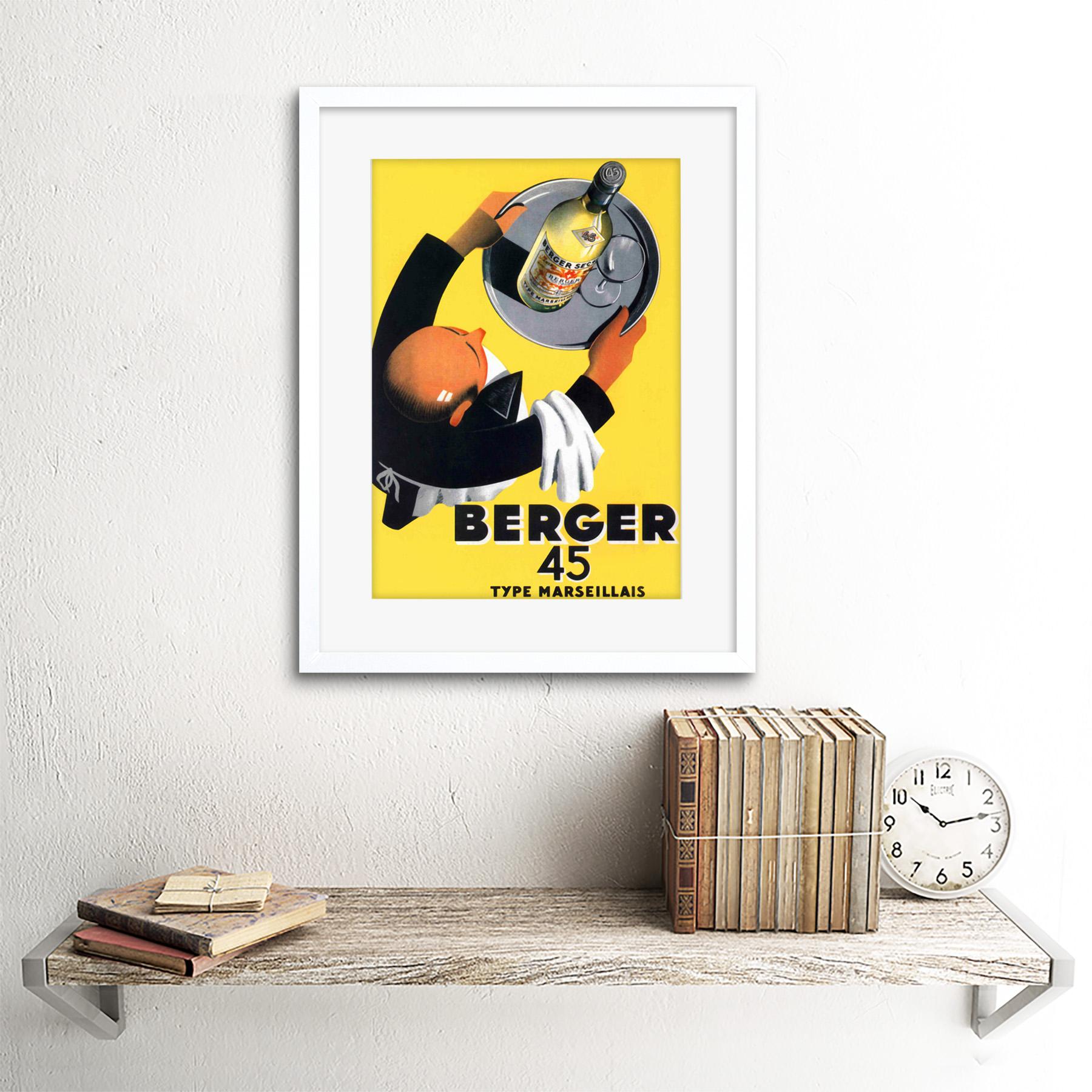 miniature 17 - Advertisement Wine Berger 45 Food Kitchen Waiter Framed Wall Art Print