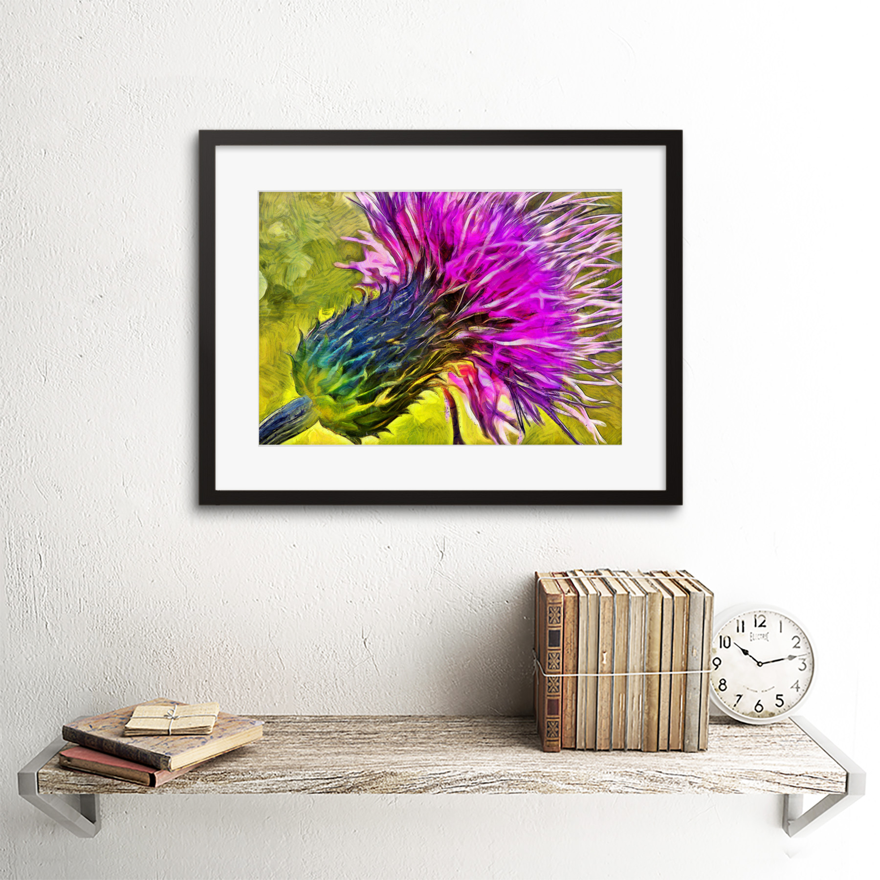 Scottish Thistle Flower Vibrant 12X16 Inch Framed Art Print