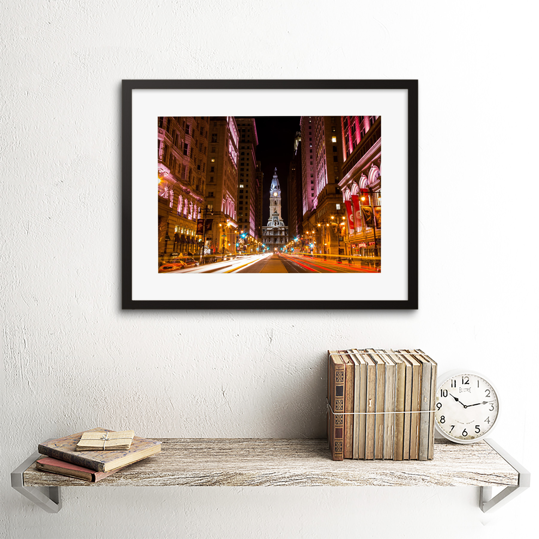 Red London Bus City Black White Cityscape Custom Fabric Poster Art TY144 24x36In