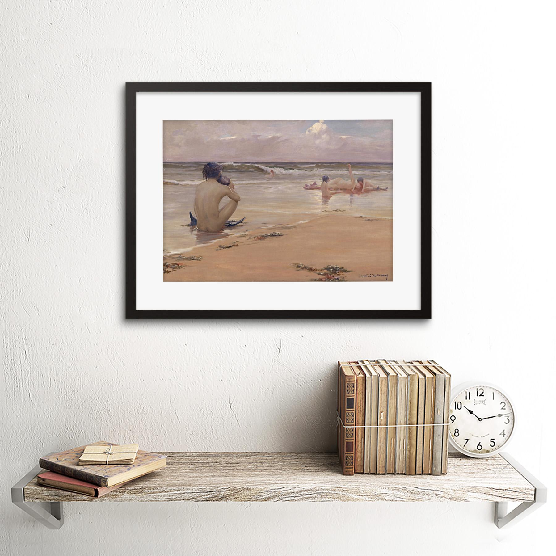 thumbnail 3 - Rupert Bunny Sea Idyll 1891 Old Painting Framed Art Print 12x16 Inch