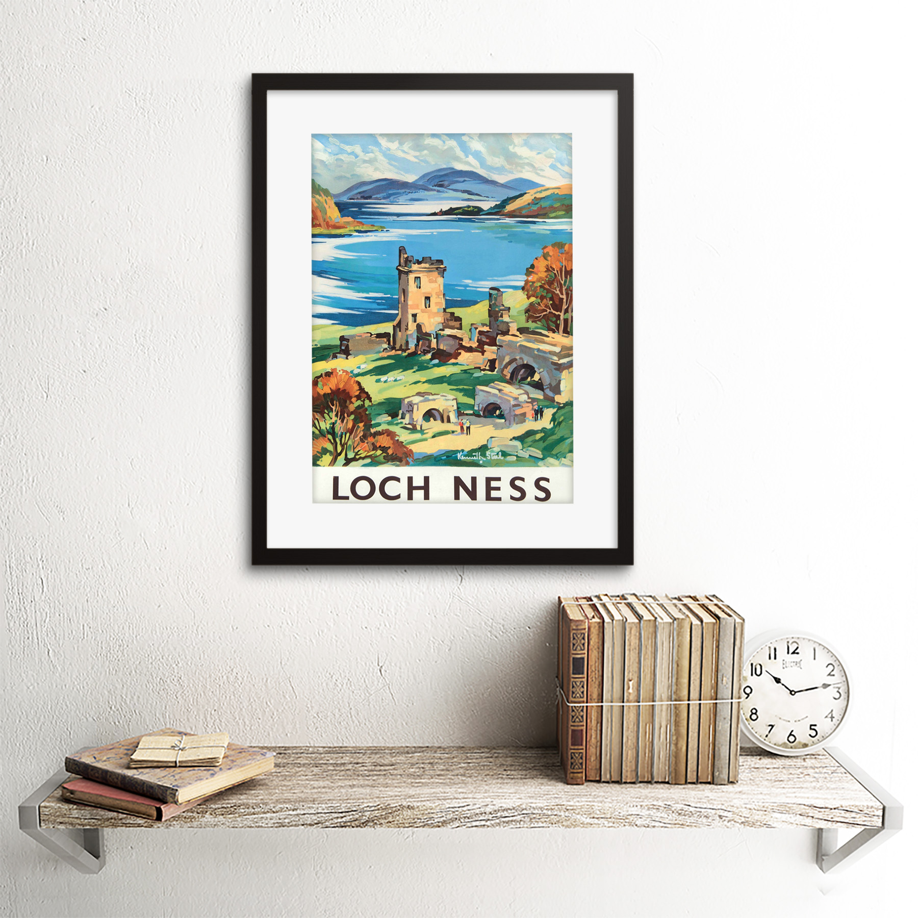 thumbnail 3 - Travel-Scotland-Castle-Loch-Ness-British-Railways-Framed-Art-Print-12x16-Inch