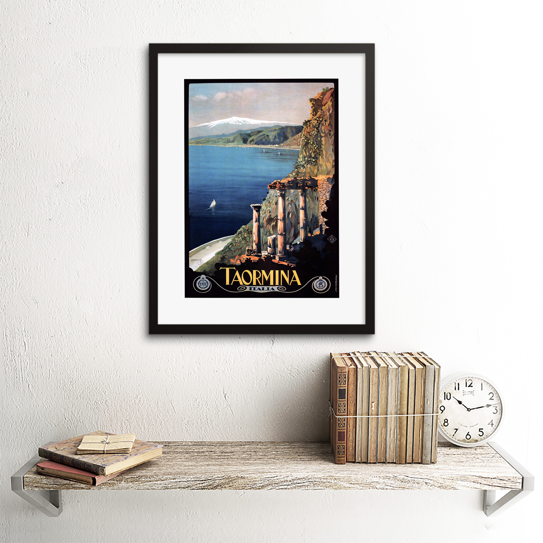 thumbnail 3 - Travel Taormina Sicily Etna Greek Theatre Italy Framed Art Print 12x16 Inch
