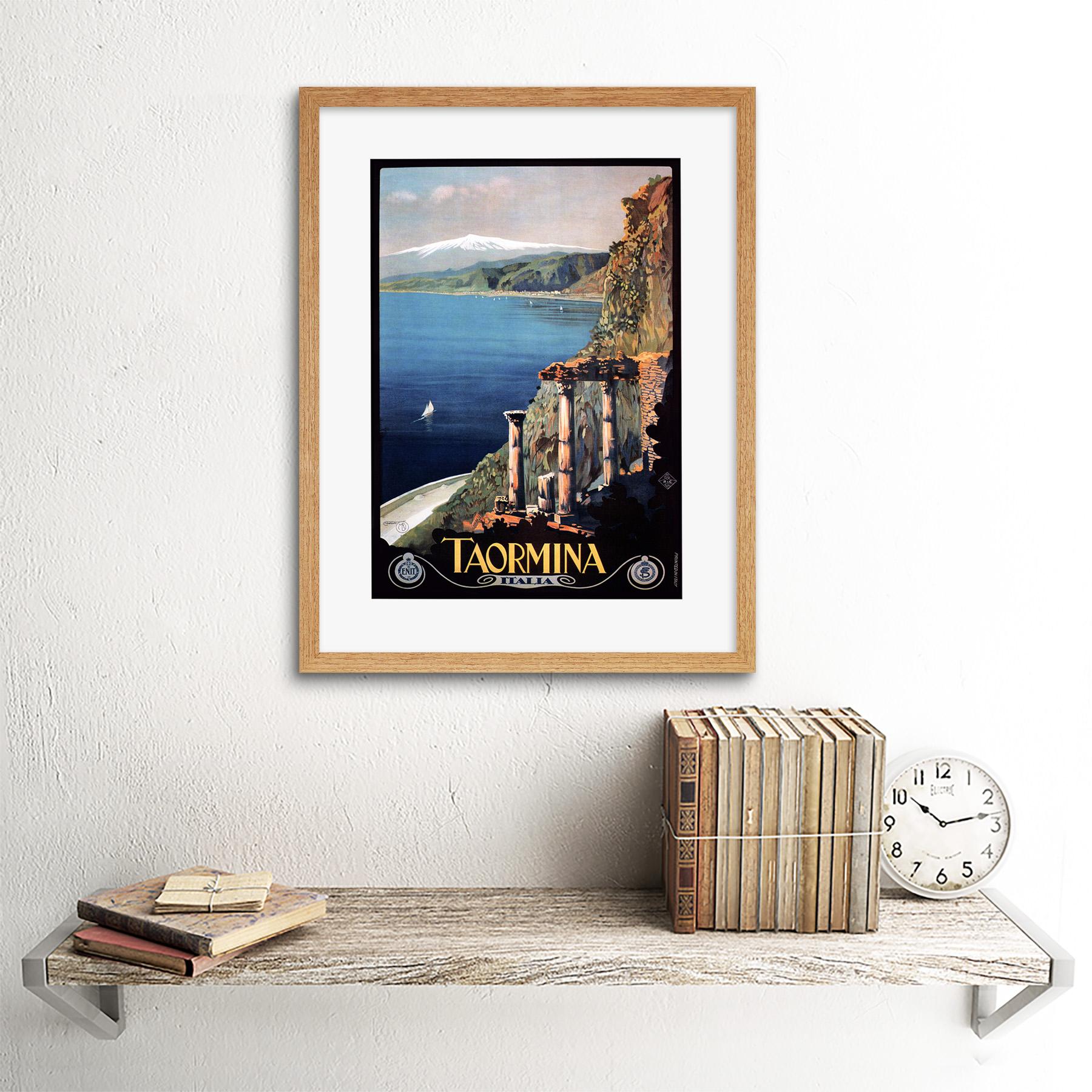 thumbnail 13 - Travel Taormina Sicily Etna Greek Theatre Italy Framed Art Print 12x16 Inch