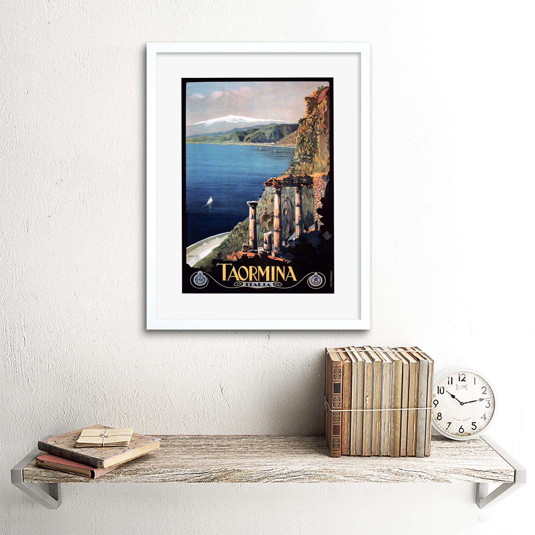 thumbnail 22 - Travel Taormina Sicily Etna Greek Theatre Italy Framed Art Print 12x16 Inch