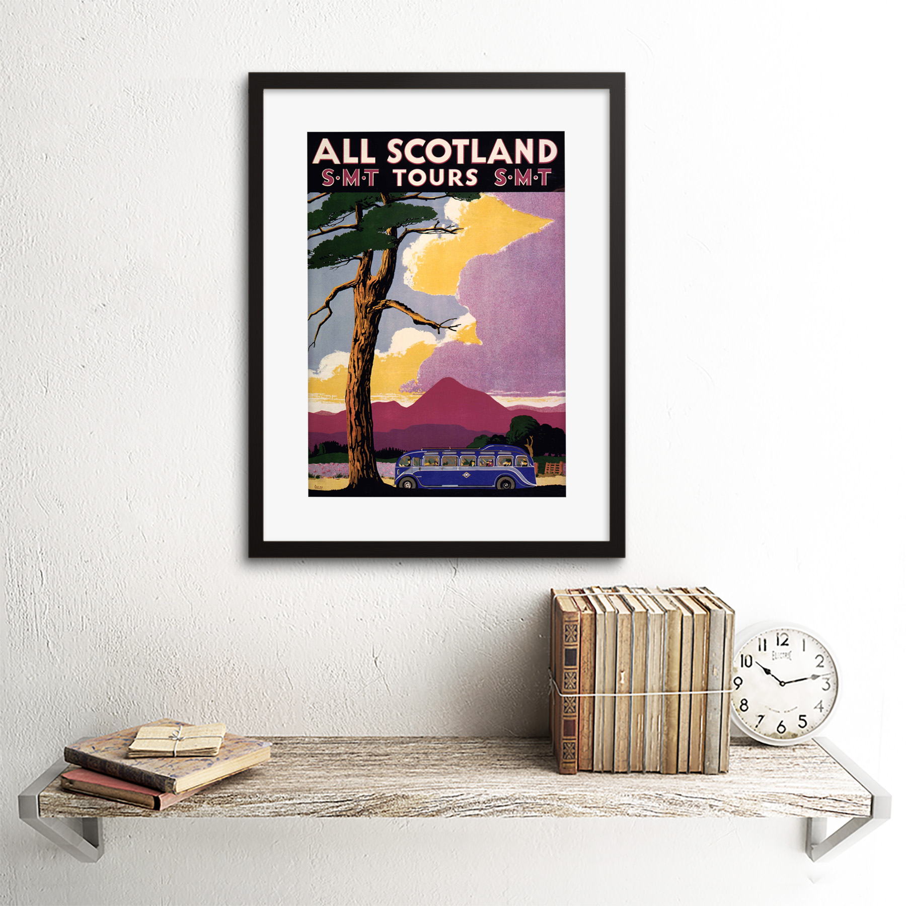 thumbnail 3 - Travel-Scotland-Bus-Scenery-Tree-Framed-Art-Print-Picture-Mount-12x16-Inch