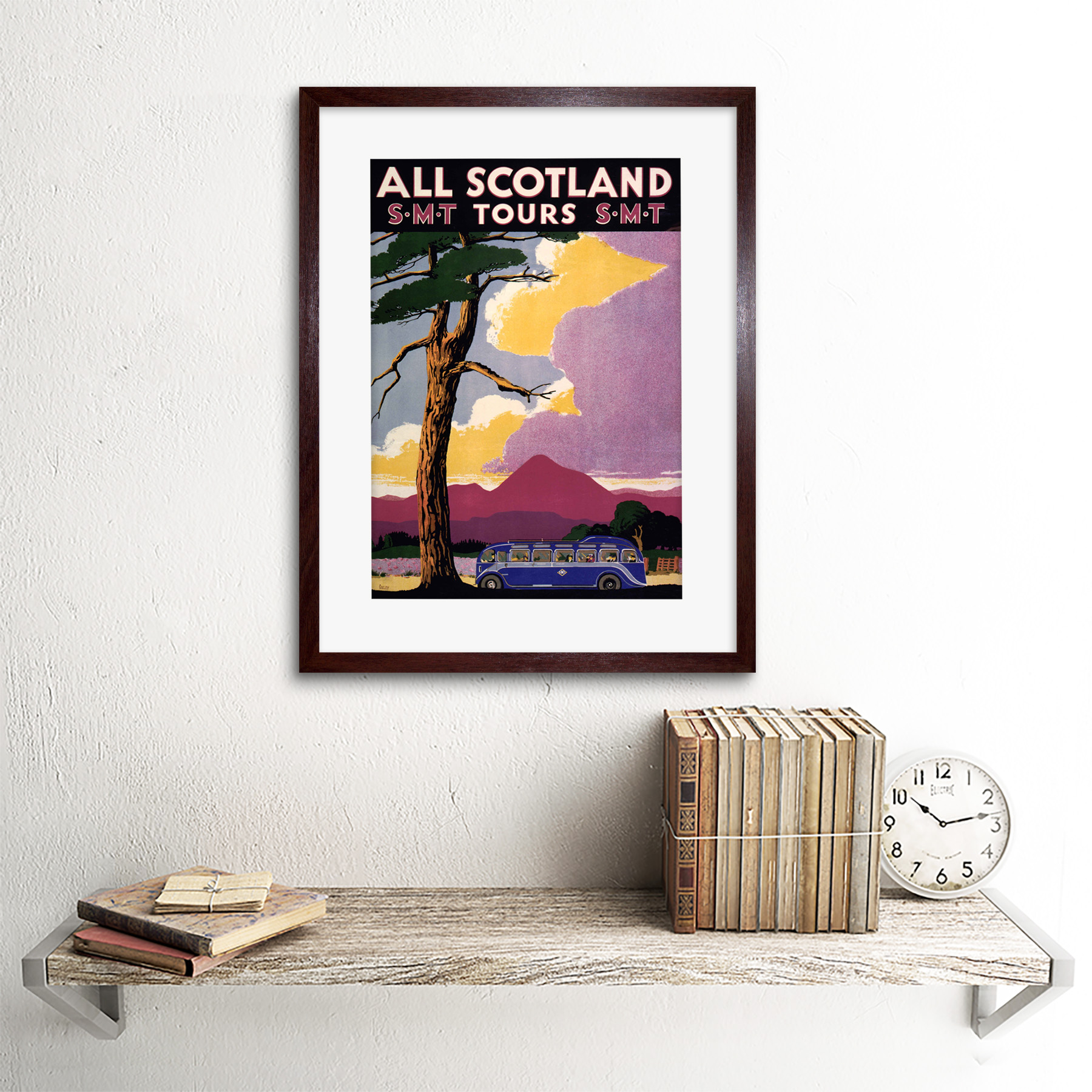 thumbnail 8 - Travel-Scotland-Bus-Scenery-Tree-Framed-Art-Print-Picture-Mount-12x16-Inch