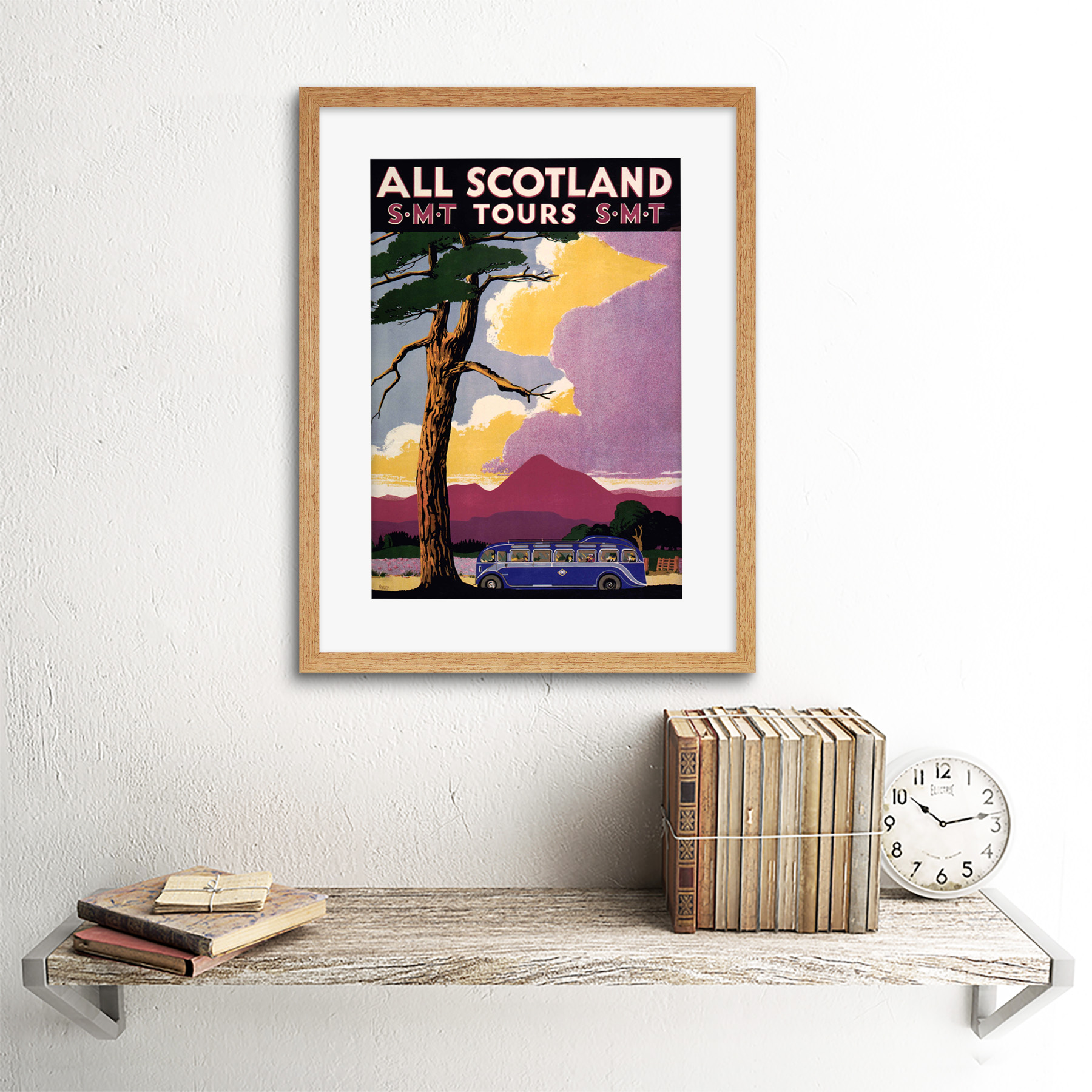 thumbnail 13 - Travel-Scotland-Bus-Scenery-Tree-Framed-Art-Print-Picture-Mount-12x16-Inch