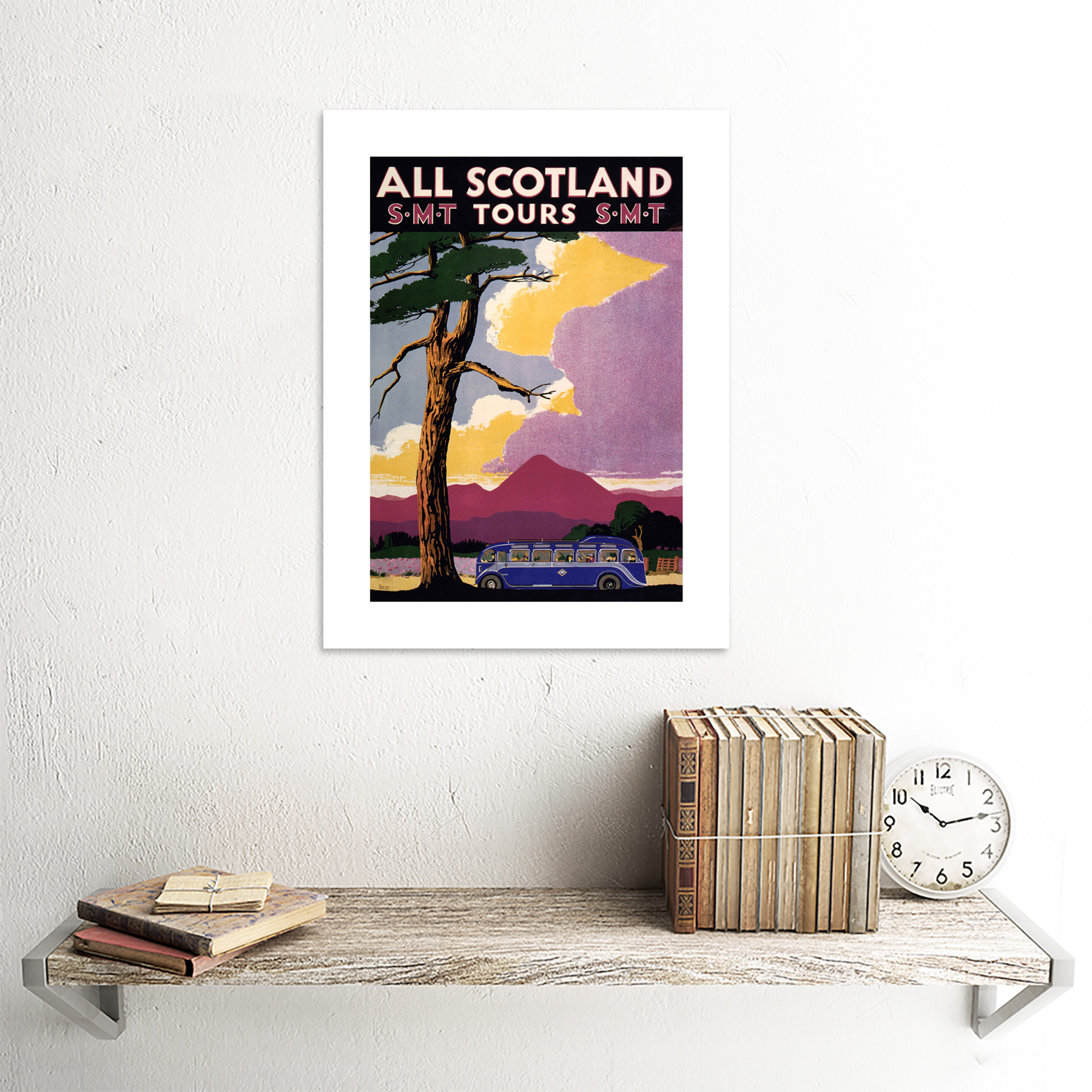 thumbnail 18 - Travel-Scotland-Bus-Scenery-Tree-Framed-Art-Print-Picture-Mount-12x16-Inch