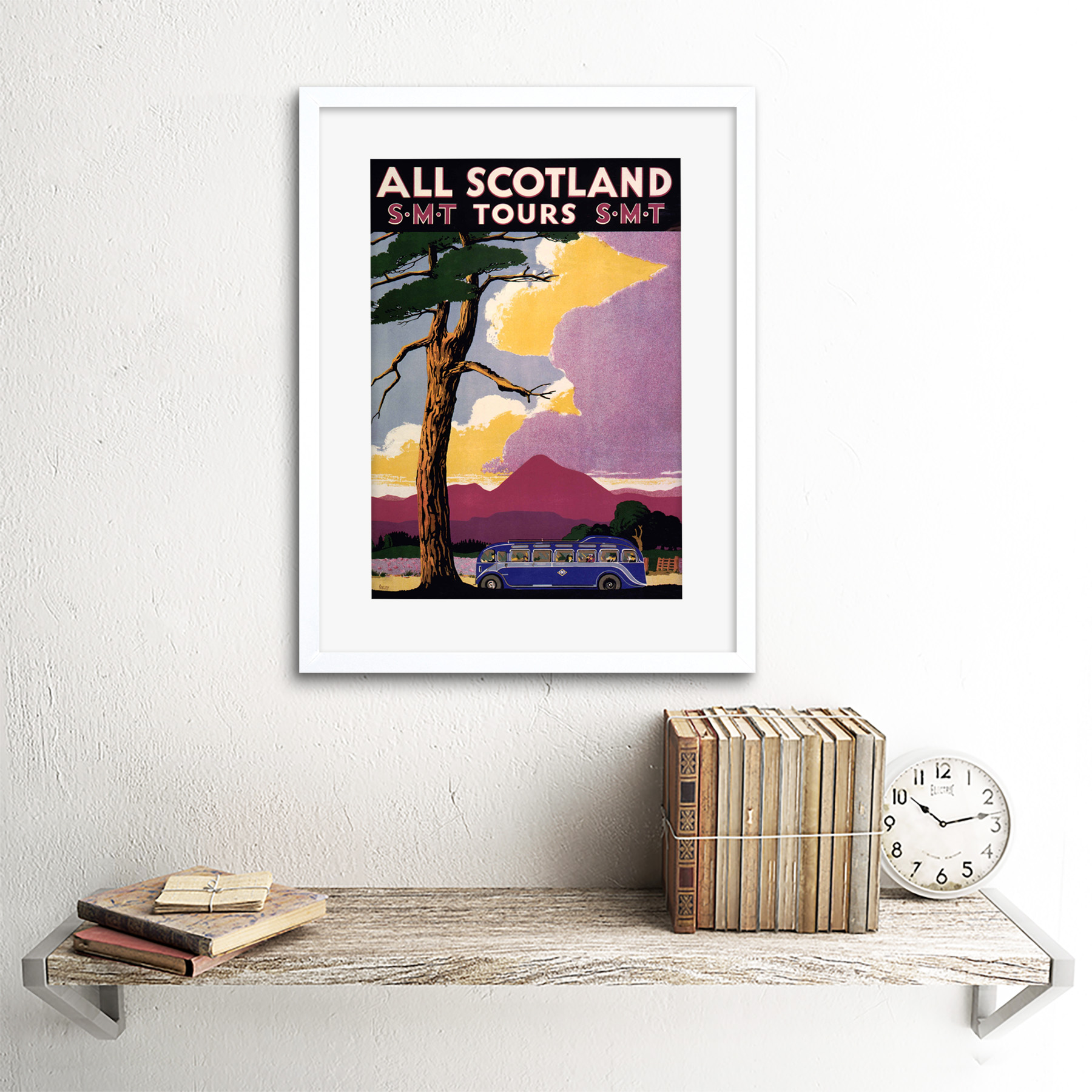 thumbnail 22 - Travel-Scotland-Bus-Scenery-Tree-Framed-Art-Print-Picture-Mount-12x16-Inch