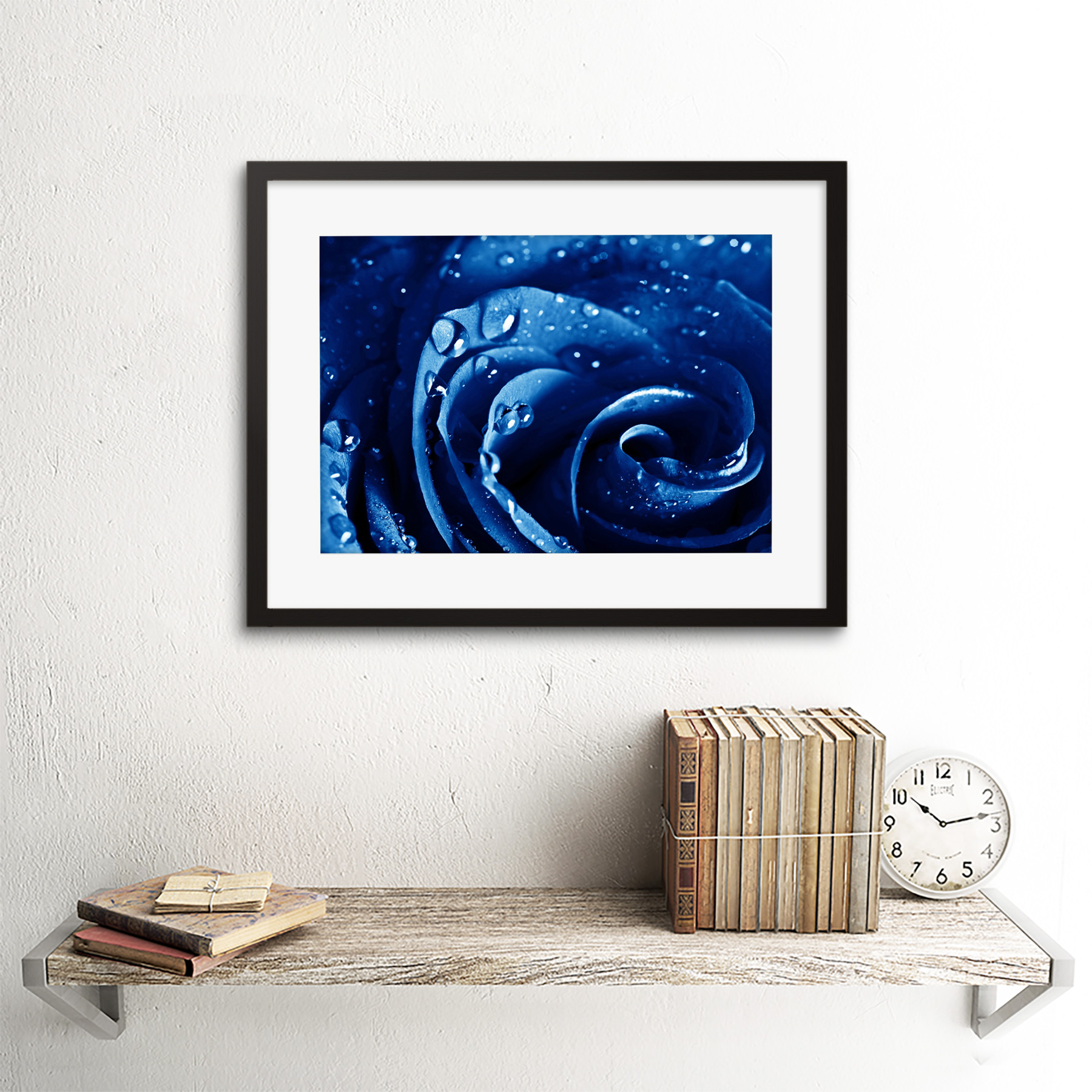 Photo-Nature-Plant-Blue-Rose-Water-Drop-Cool-Framed-Print-12x16-Inch miniatuur 3