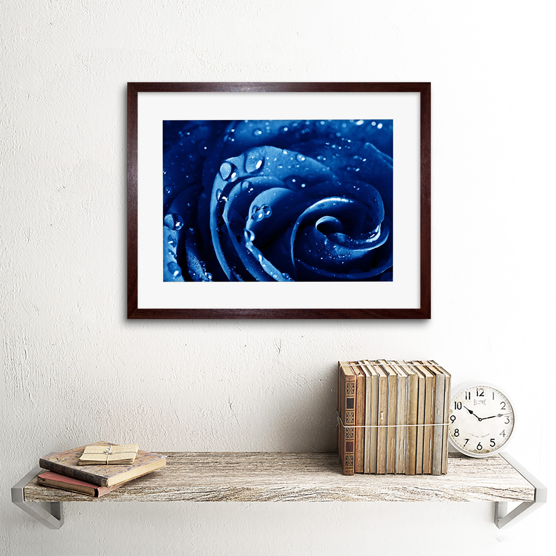 Photo-Nature-Plant-Blue-Rose-Water-Drop-Cool-Framed-Print-12x16-Inch miniatuur 8