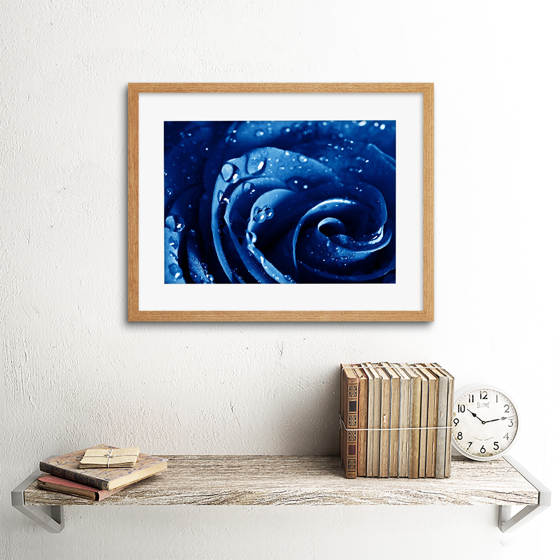 Photo-Nature-Plant-Blue-Rose-Water-Drop-Cool-Framed-Print-12x16-Inch miniatuur 13