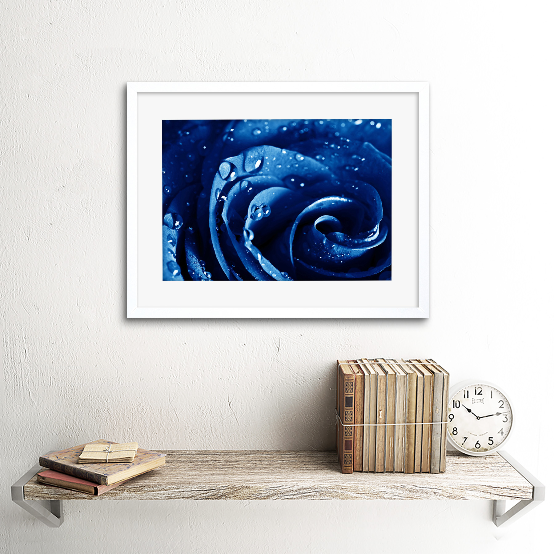 Photo-Nature-Plant-Blue-Rose-Water-Drop-Cool-Framed-Print-12x16-Inch miniatuur 22