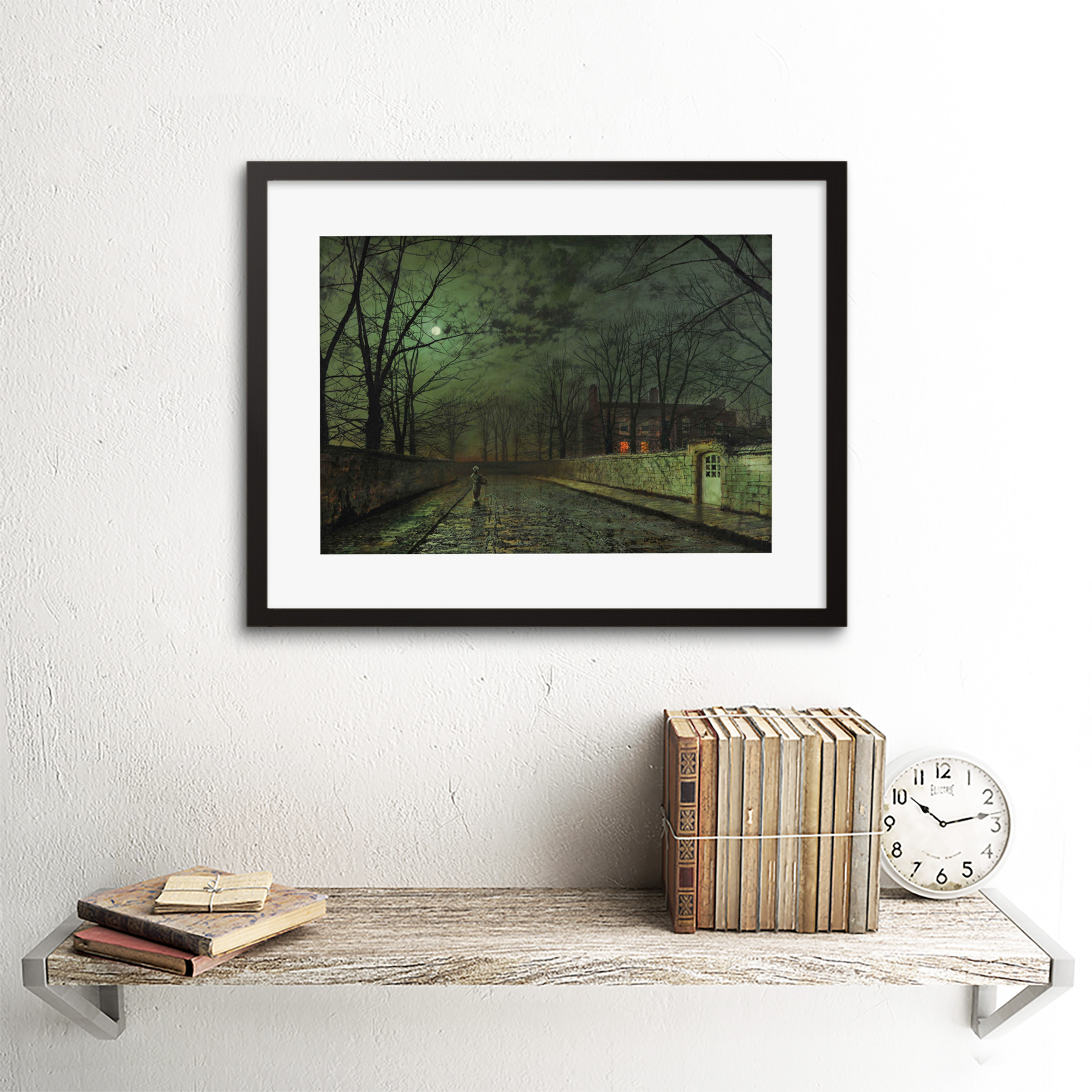 thumbnail 3 - Grimshaw-Moonlit-Street-Painting-Framed-Art-Print-Picture-Mount-12x16-Inch