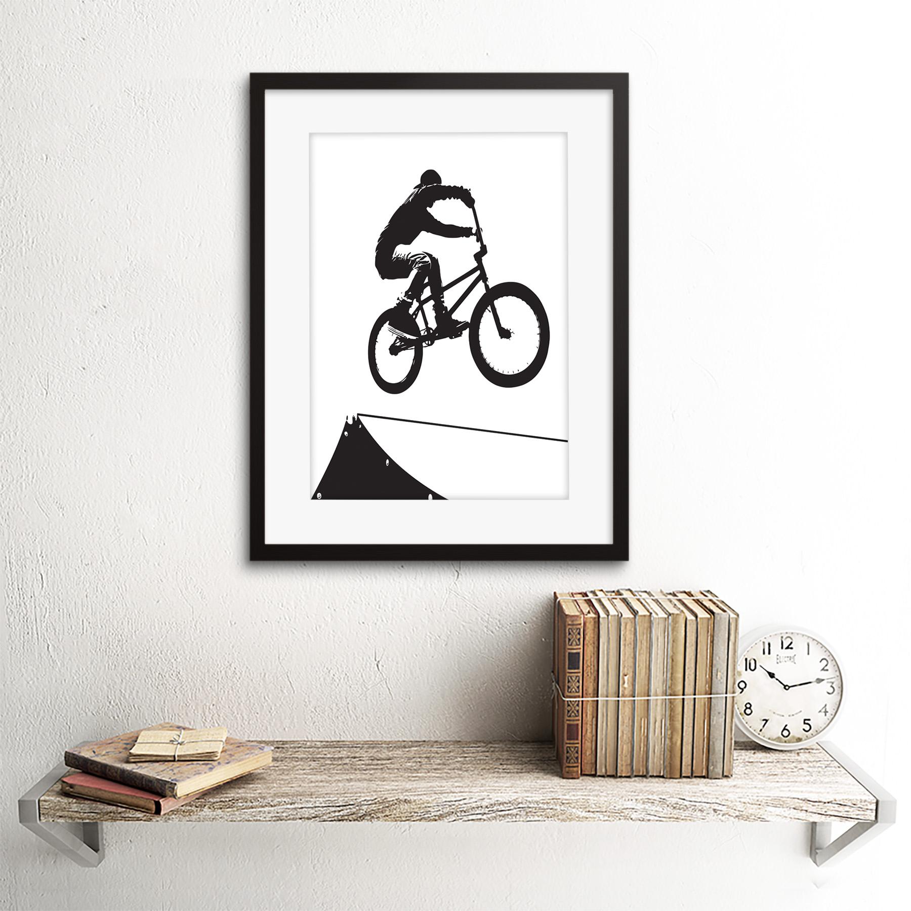 "Indexbild 3 - Painting Sport Bmx Bike Bicycle Jump Air Ramp Black White Framed Print 12x16"""