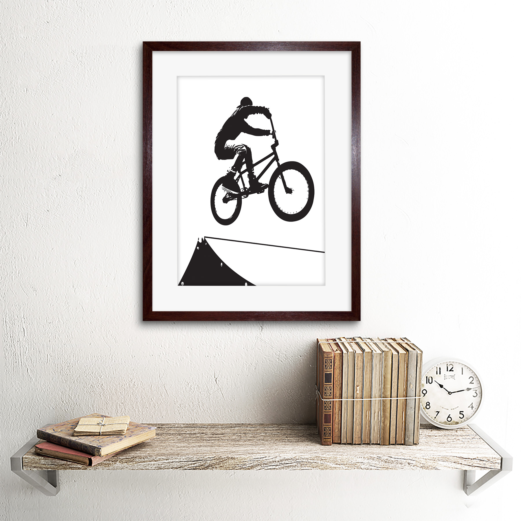 "Indexbild 8 - Painting Sport Bmx Bike Bicycle Jump Air Ramp Black White Framed Print 12x16"""