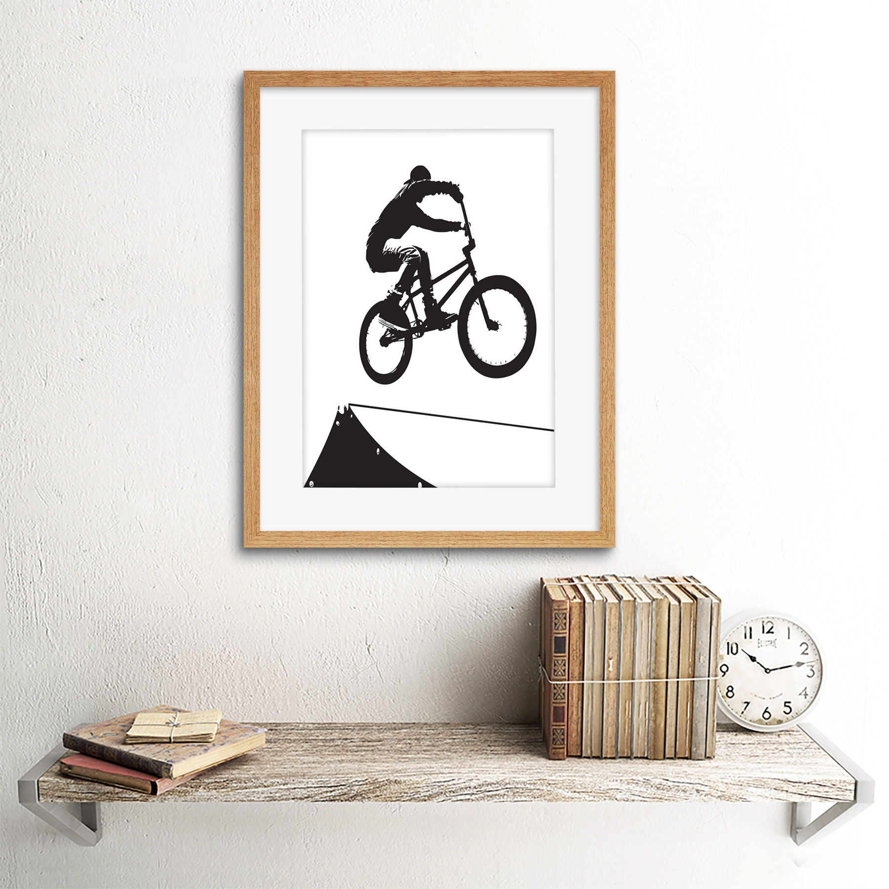 "Indexbild 13 - Painting Sport Bmx Bike Bicycle Jump Air Ramp Black White Framed Print 12x16"""